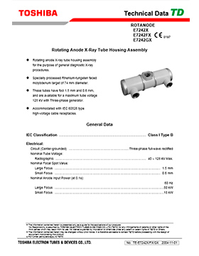 E7242X/E7242FX/E7242GX Rotating Anode X-Ray Tube Housing Assembly