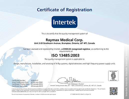 ISO 13485:2003 Registered